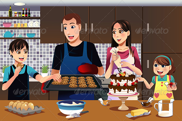 GraphicRiver Family in the Kitchen 7285365