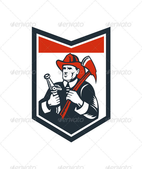 GraphicRiver Fireman Firefighter Carry Axe Hose Shield Woodcut 7285445