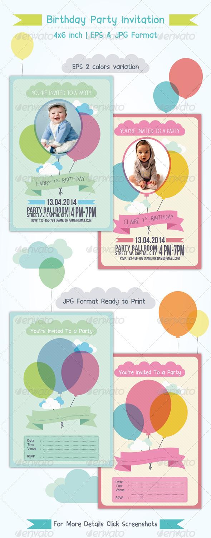 GraphicRiver Balloon Birthday Invitation 7285452