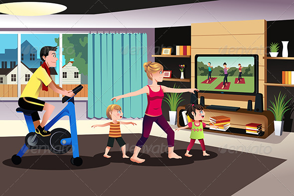 GraphicRiver Healthy Family Exercising Together 7285456
