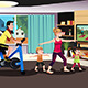 Healthy Family Exercising Together - GraphicRiver Item for Sale