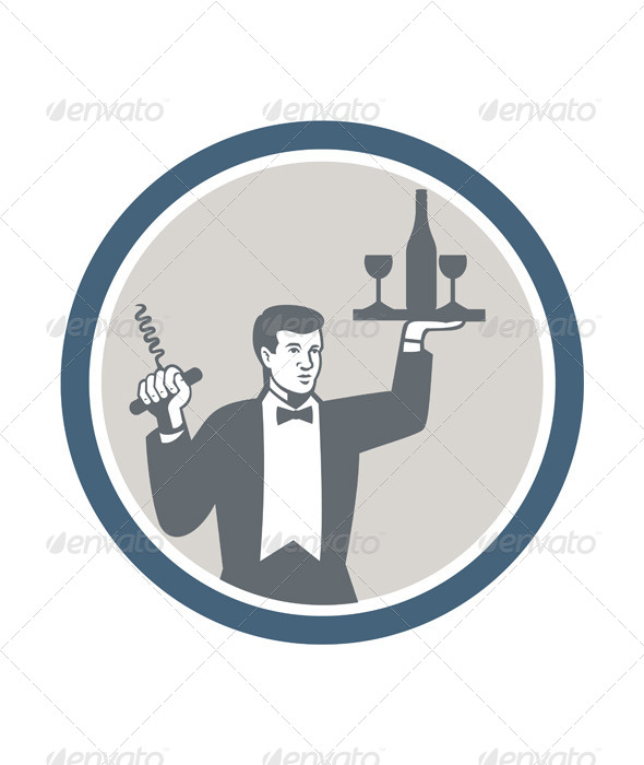 GraphicRiver Waiter Serving Wine Bottle on Platter Retro 7285462