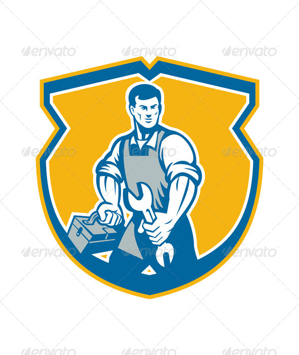 GraphicRiver Mechanic Holding Spanner Wrench Toolbox Crest Retro 7285466