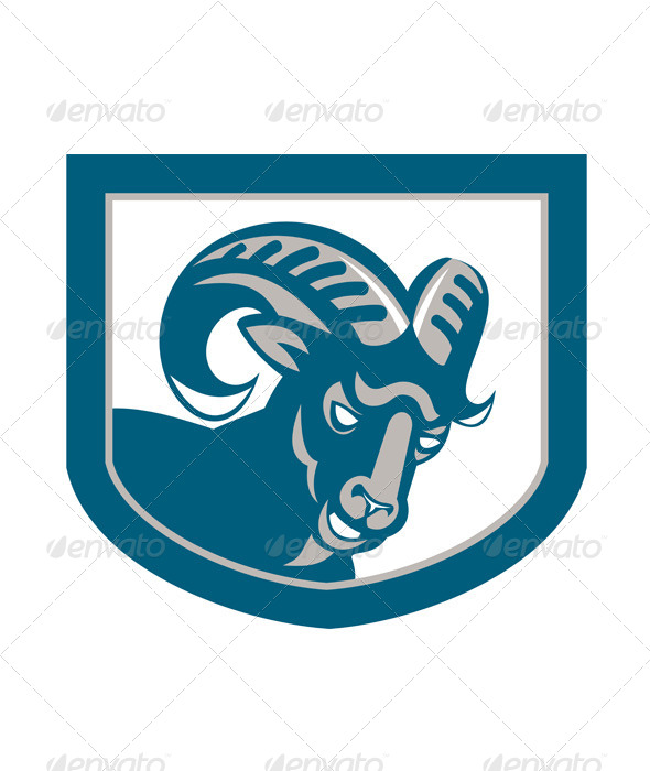 GraphicRiver Mountain Goat Ram Head Shield Retro 7285493