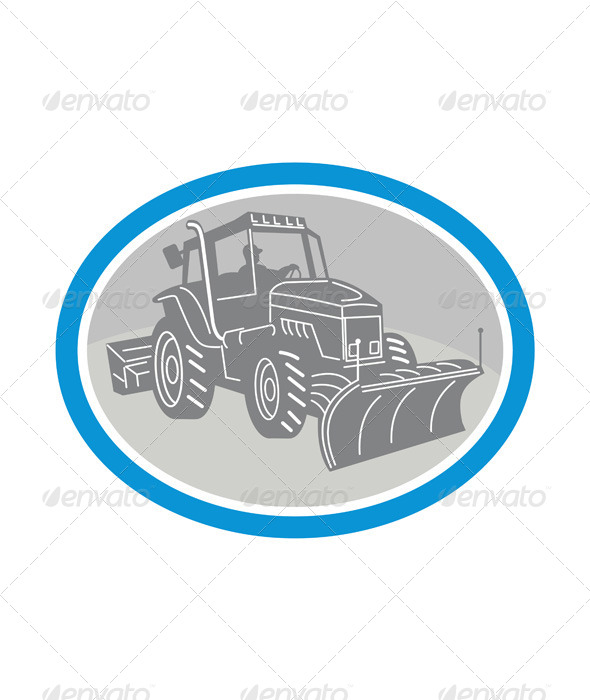 GraphicRiver Snow Plow Truck Oval Retro 7285557