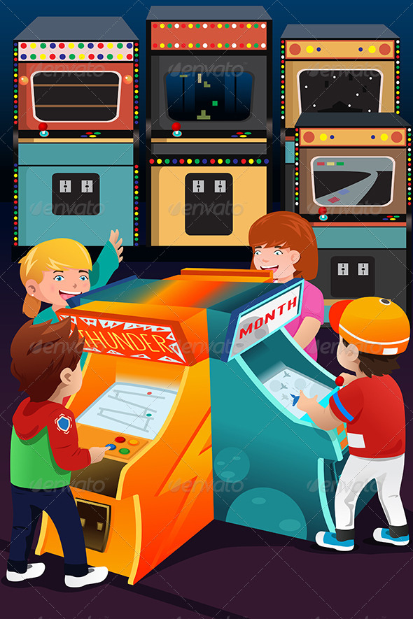 GraphicRiver Kids Playing Arcade Games 7285558
