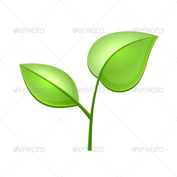 GraphicRiver Ecology Concept Icon with Glossy Green Leaves 7285572