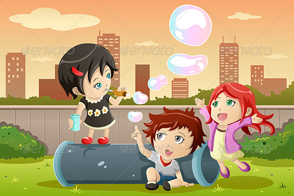 GraphicRiver Kids Playing Bubbles 7285607