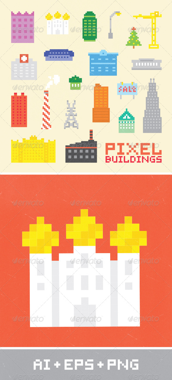 GraphicRiver Pixel Art City Set 2 7285868