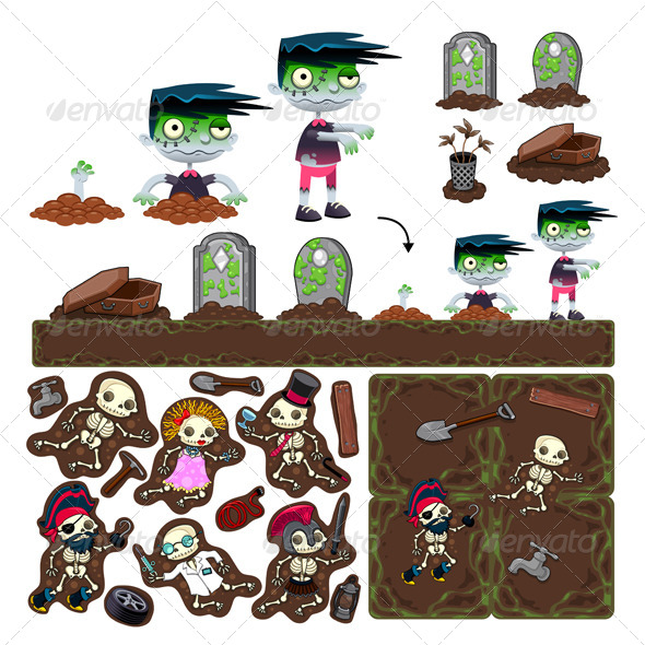 GraphicRiver Set of Game Elements with Zombie Characters Platformer 7286228