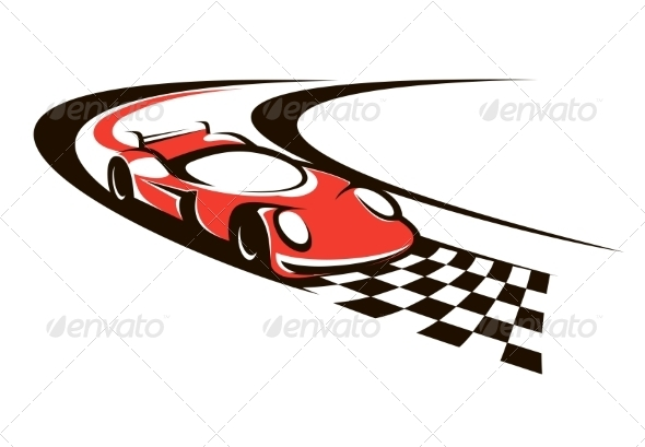 GraphicRiver Speeding Racing Car Crossing the Finish Line 7286324