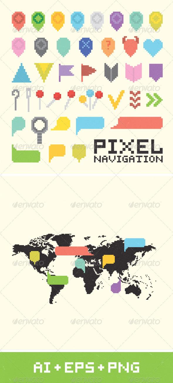 GraphicRiver Pixel Art Navigation Set 7286655