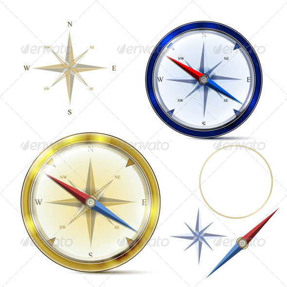 GraphicRiver Two Compasses and Elements of Compass 7286850