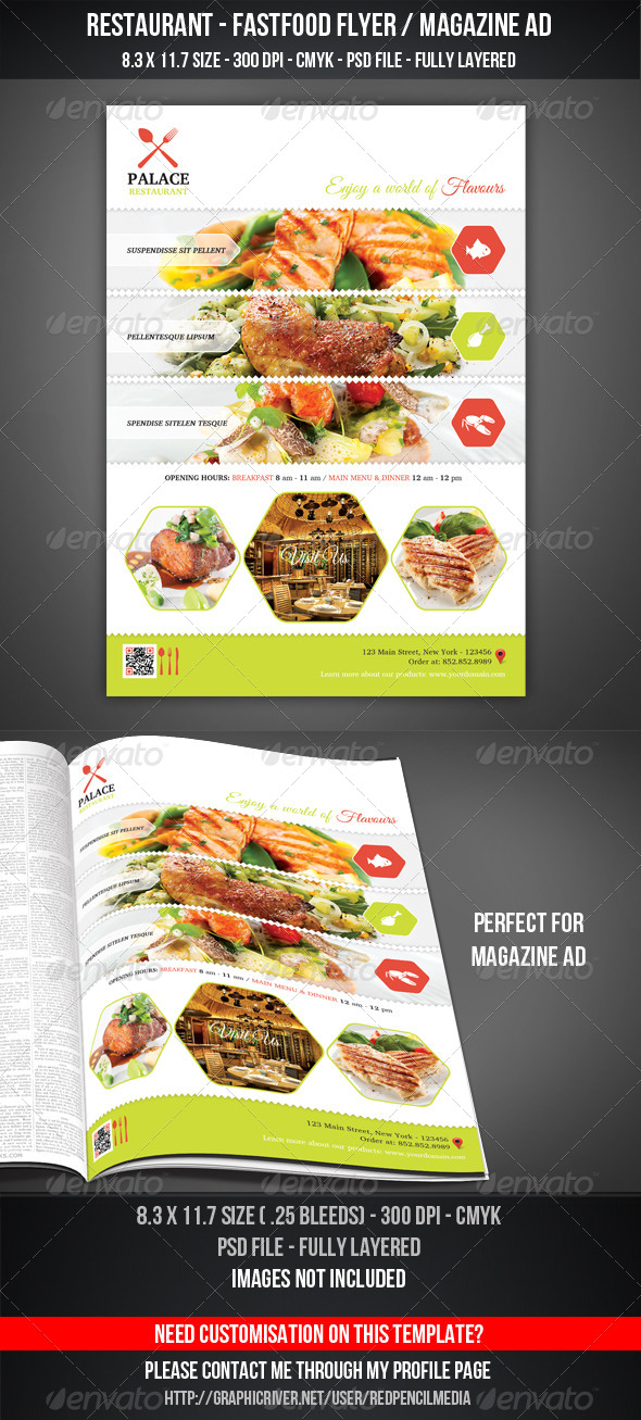 GraphicRiver Restaurant FastFood Flyer Magazine AD 7286854