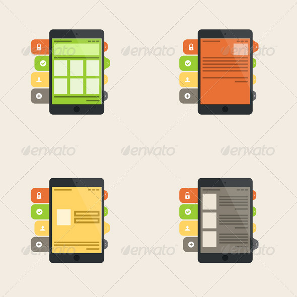 GraphicRiver Set of Four Flat Interface Concepts 7286888