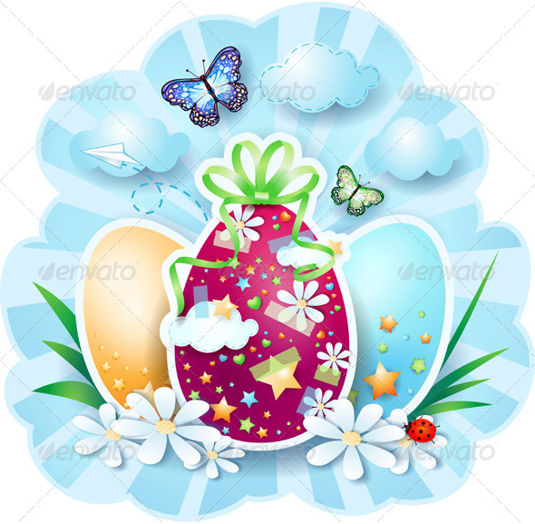GraphicRiver Easter Background with Eggs and Butterflies 7287267