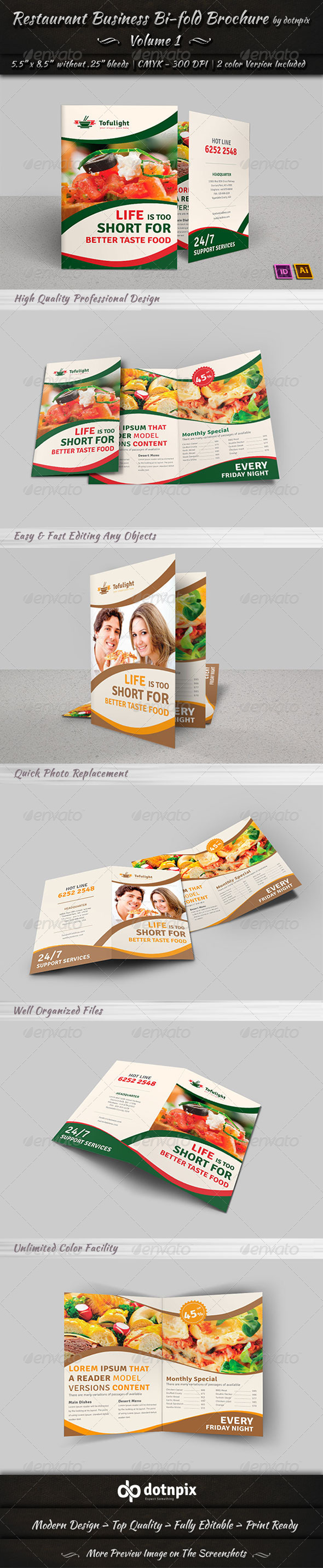 GraphicRiver Restaurant Business Bi-Fold Brochure Volume 1 7288208