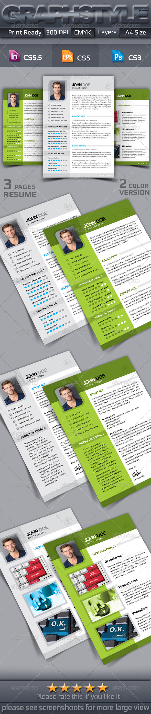 GraphicRiver 3 Page Resume Templates 7288300