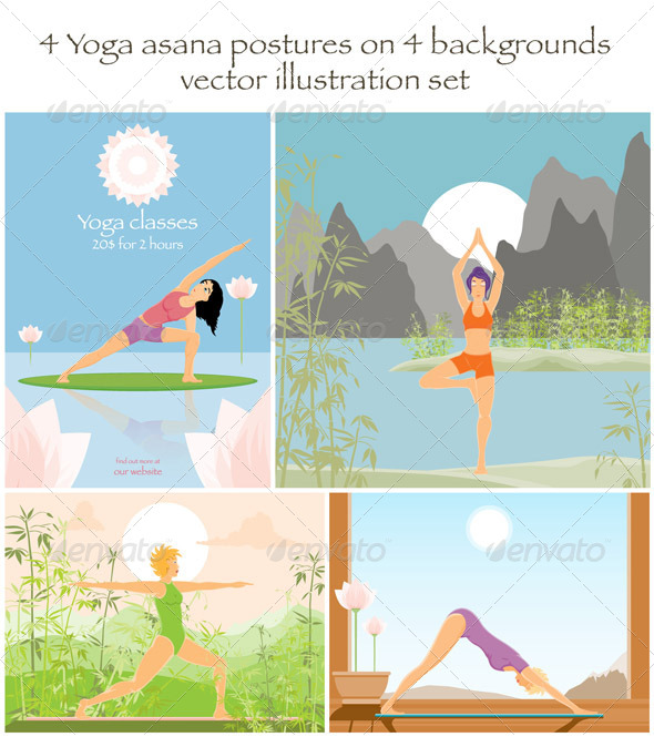 GraphicRiver 4 Yoga Asanas on 4 Backgrounds 7288787