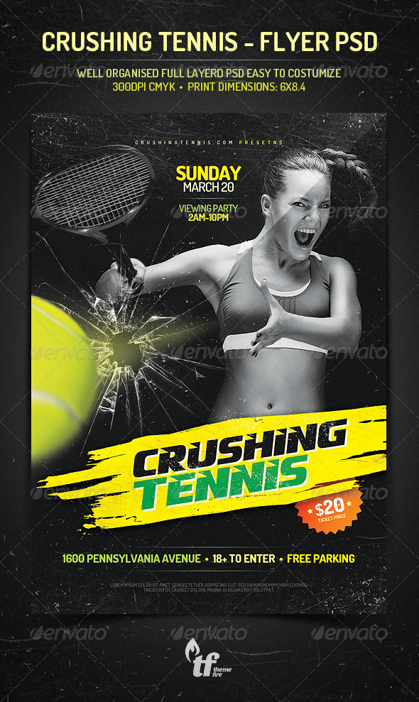 GraphicRiver Crushing Tennis Flyer PSD Template 7289646