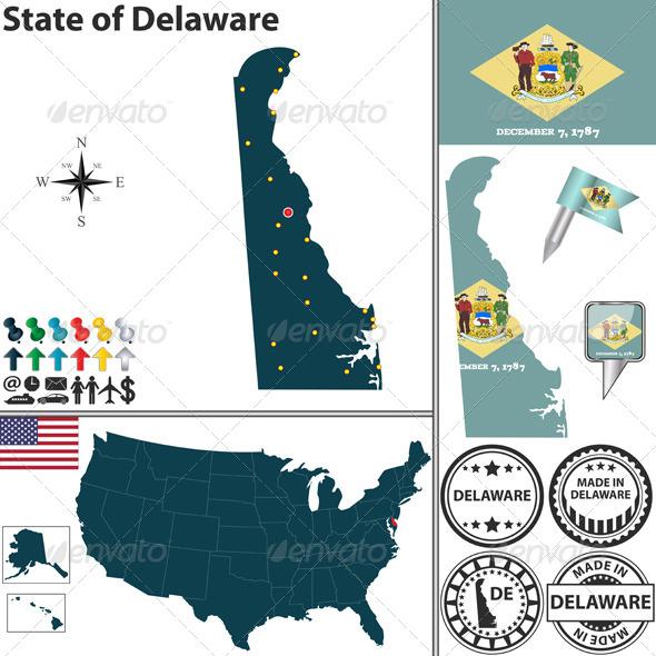 GraphicRiver Map of State Delaware USA 7289730