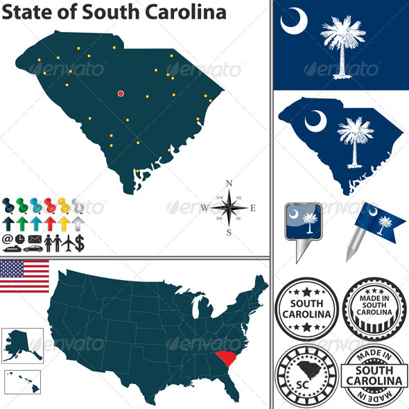 GraphicRiver Map of State South Carolina USA 7289742