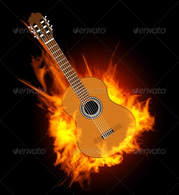 GraphicRiver Acoustic Guitar in Fire Flame 7289792