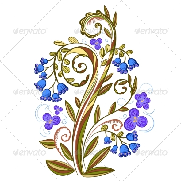 GraphicRiver Decorative Floral Colored Pattern with Bluebells 7290835
