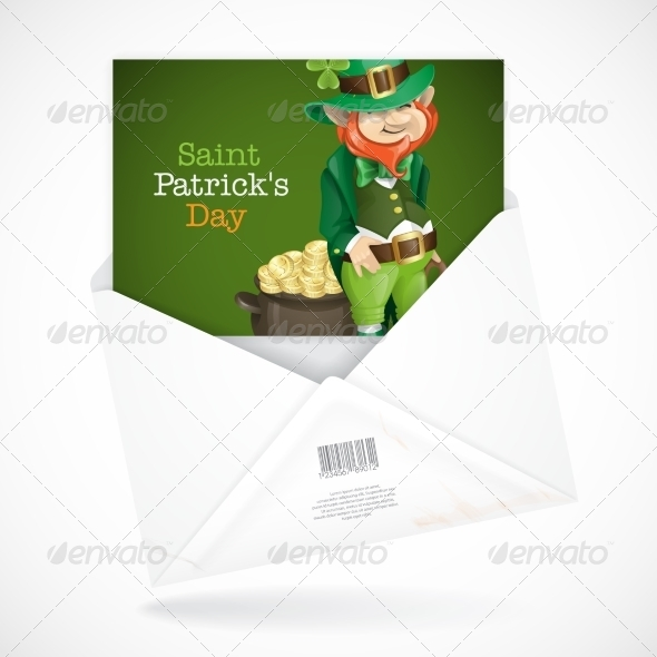 GraphicRiver St Patrick s Day Leprechaun with Pot of Gold 7290931