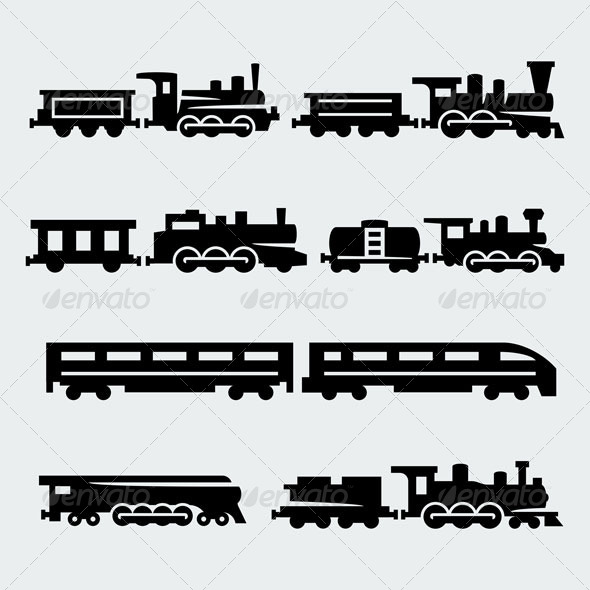 GraphicRiver Trains Silhouettes 7290998