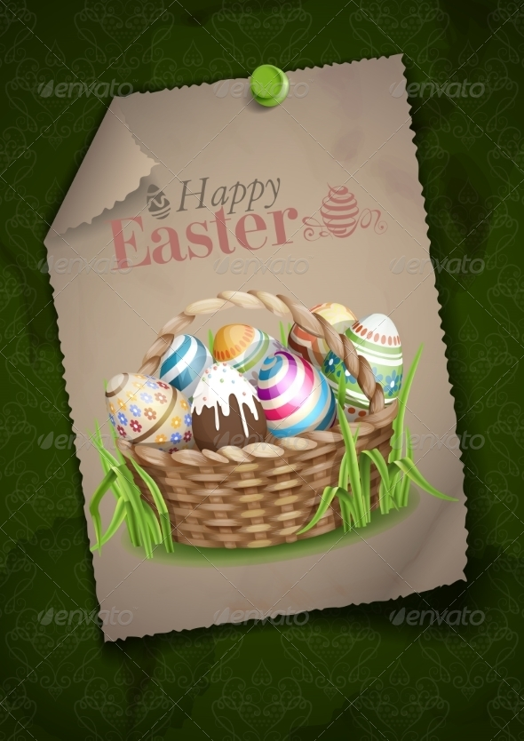 GraphicRiver Easter Background with a Basket 7291005