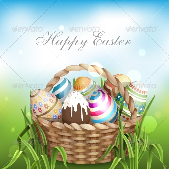 GraphicRiver Easter Background With A Basket 7291019