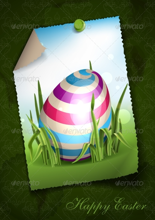 GraphicRiver Easter Background with Eggs in Grass 7291028