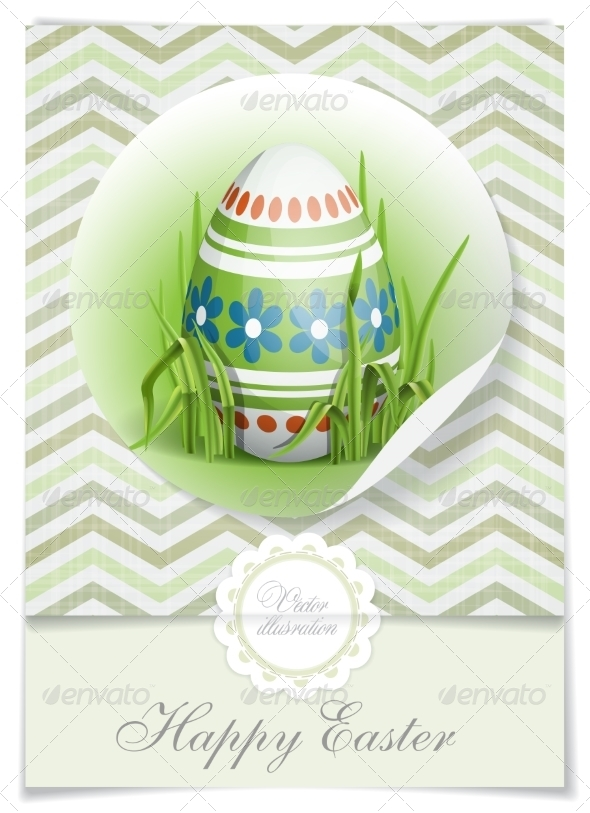 GraphicRiver Easter Background with Eggs in Grass 7291037