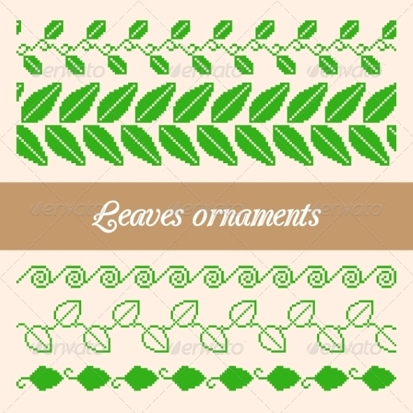 GraphicRiver Seamless Ornaments of Pixel Green Leaves 7291554