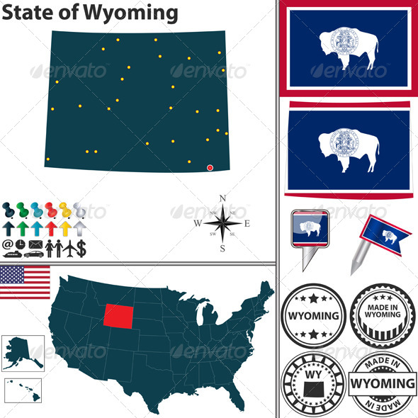 GraphicRiver Map of State Wyoming USA 7292080