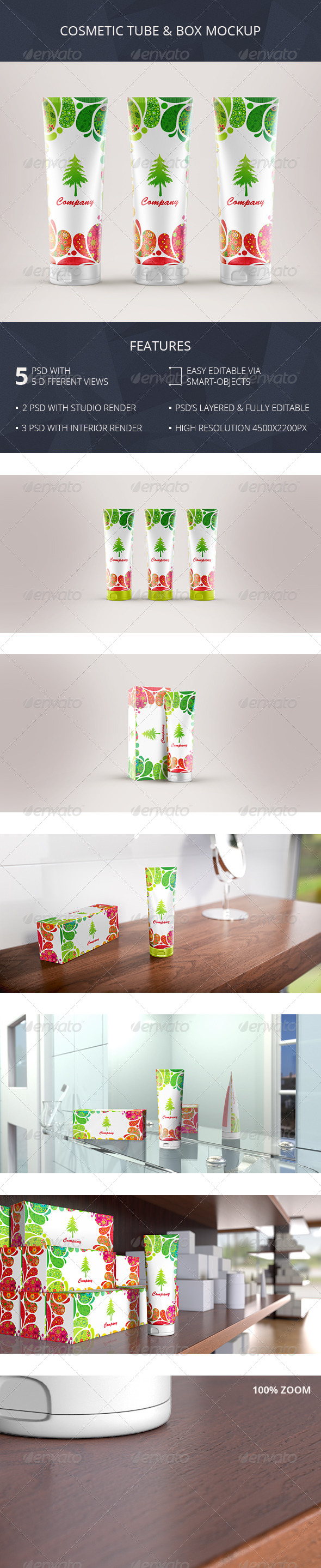 GraphicRiver Cosmetic Tube & Box Mockup Toothpaste Packaging 7263155