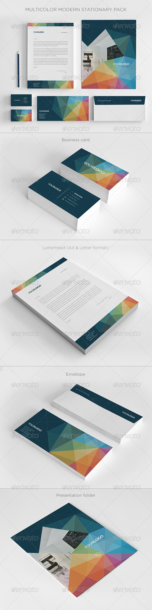 GraphicRiver Multicolor Modern Stationery Pack 7281036