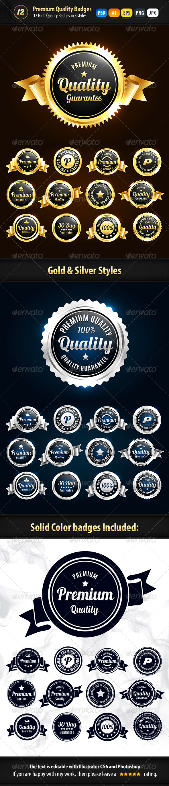 GraphicRiver 12 Premium Badges In 3 Styles 7263405