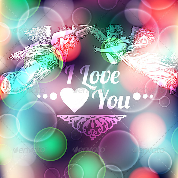 GraphicRiver Love Background with Angels 7292543