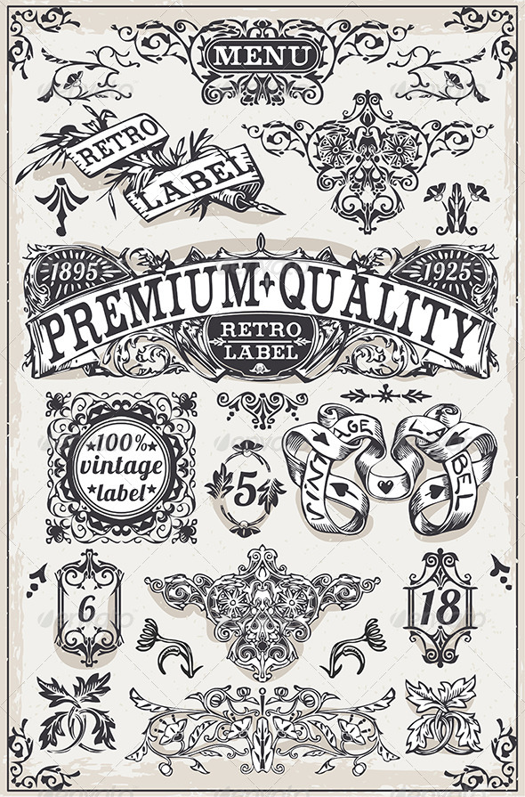 GraphicRiver Vintage Hand Drawn Graphic Banners and Labels 7292552
