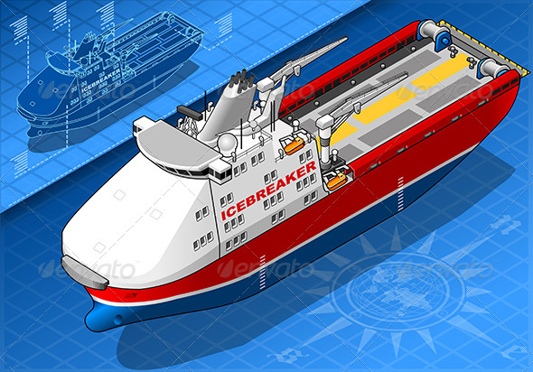 GraphicRiver Isometric Icebreaker Ship Isolated in Front View 7292553