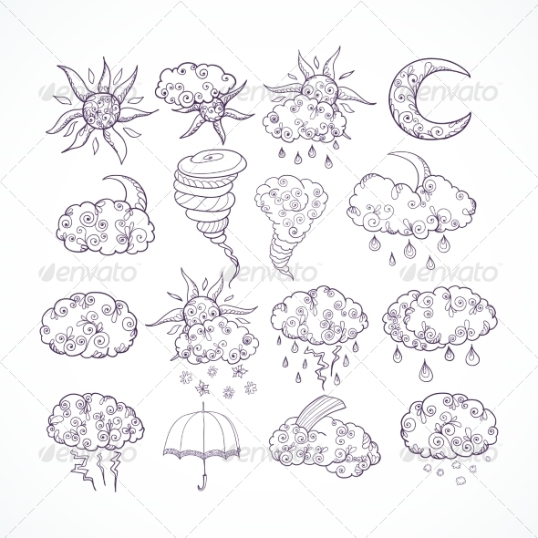 GraphicRiver Doodle Weather Forecast Graphic Symbols 7292565