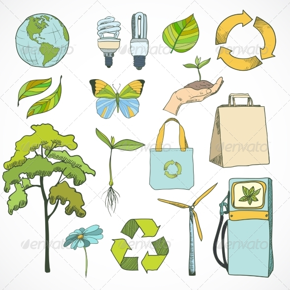 GraphicRiver Doodles Ecology and Environment Icons Set 7292568
