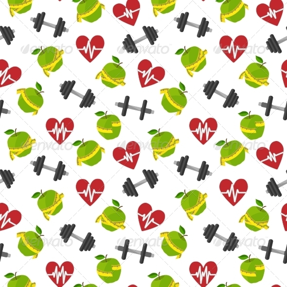 GraphicRiver Fitness Symbols Seamless Pattern 7292583