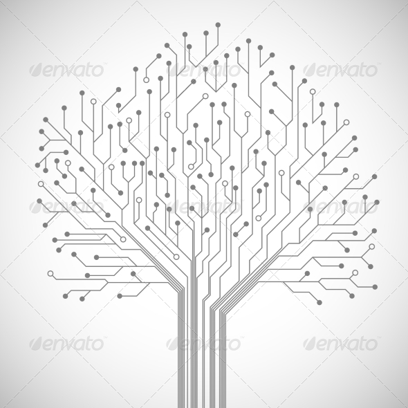 GraphicRiver Circuit Board Tree Symbol Poster 7292586