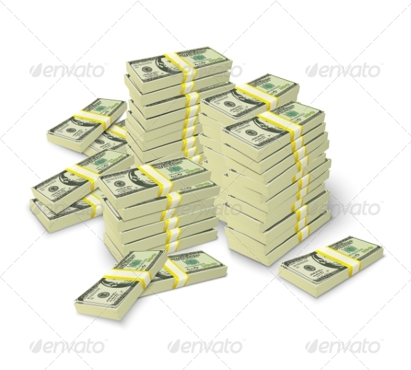 GraphicRiver Money Stacks Banknotes Pile Concept 7292604