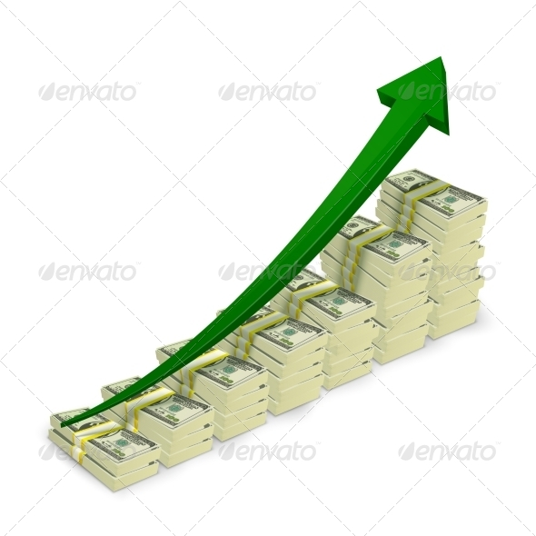 GraphicRiver Money Banknotes Stacks Rising Graph 7292605