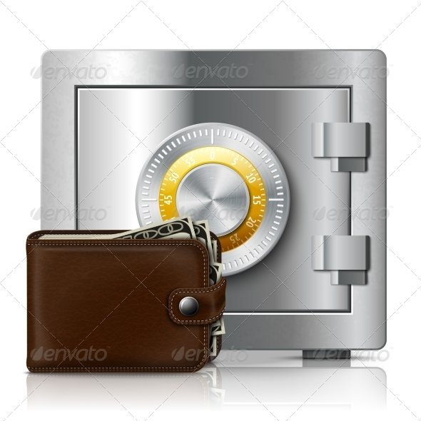 GraphicRiver Leather Wallet and Safe with Code Lock 7292606