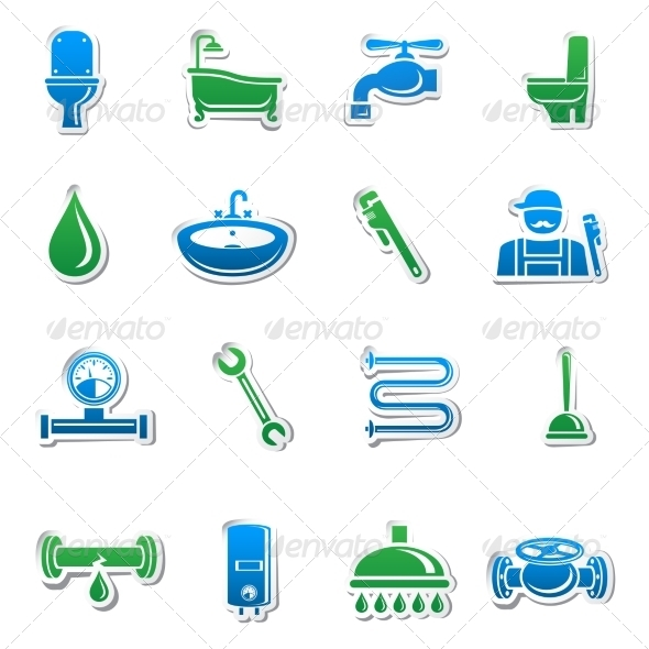 GraphicRiver Plumbing Tools Sticker Collection 7292610